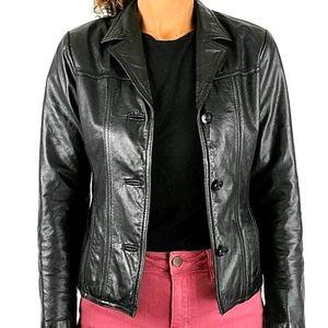 Maxima 100% Leather Blazer Size Medium Button up